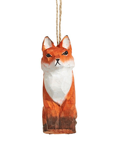 Christmas Street Winter Chalet Carved Fox Wood Ornament-MULTI-One Size
