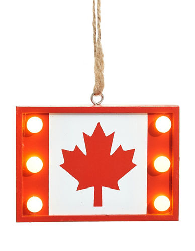 Christmas Street Winter Chalet LED Canadian Flag Wood Ornament-RED-One Size