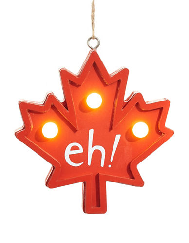 Christmas Street Winter Chalet LED Maple Leaf Wood Ornament-RED-One Size