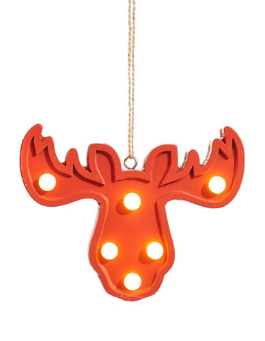 Christmas Street Winter Chalet LED Moose Wood Ornament-RED-One Size