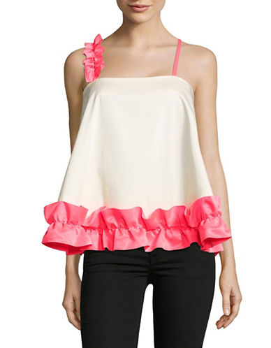 Paskal Flounce Criss-Cross Top-WHITE-Medium