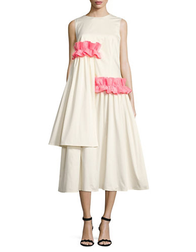 Paskal Asymmetrical Frills Fit-And-Flare Dress-WHITE-Small