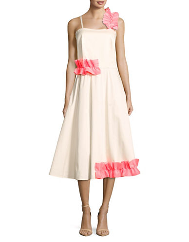 Paskal Asymmetrical Ruffle Strappy Flare Dress-WHITE-Large