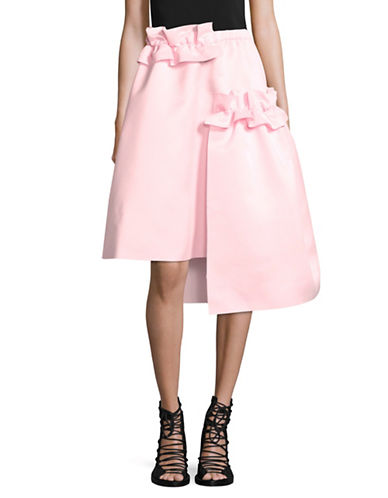 Paskal Asymmetric Skirt with Frills and Pockets-PINK-X-Small