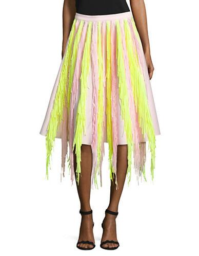Paskal Flared Fringe Skirt-PINK-Small