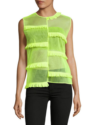 Paskal Sheer Ruffled Top with Bandeau-YELLOW-Small