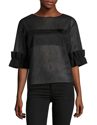 Paskal Sheer Ruffle Sleeve Top-BLACK-X-Small