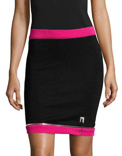 Jeremy Scott Contrast Safety Pin Stretch Knit Pencil Skirt-PINK-36