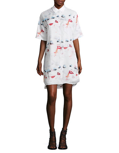 Jeremy Scott Face Print Short Sleeve Shirt Dress-WHITE-44