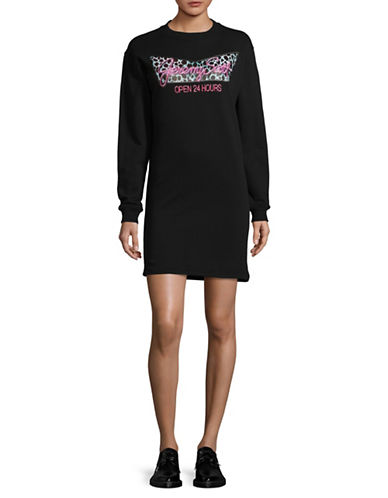 Jeremy Scott Side Slit Sweater Dress-BLACK-42