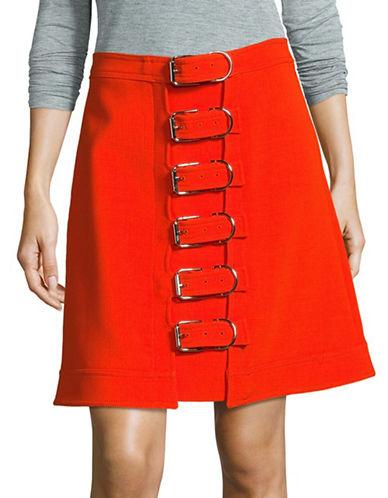 Carven Buckled Wool Mini Skirt-ORANGE-36