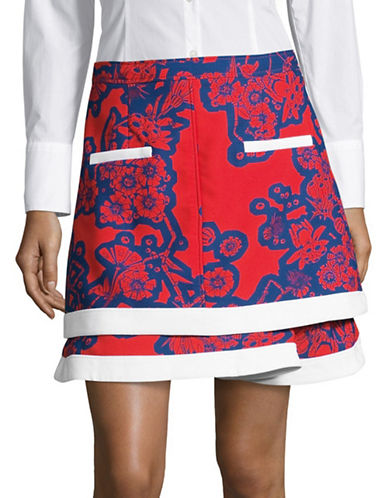 Carven Printed Mini Skirt-BLUE/RED-36