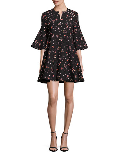 Carven Bell Sleeve Shift Dress-BLACK MULTI-38