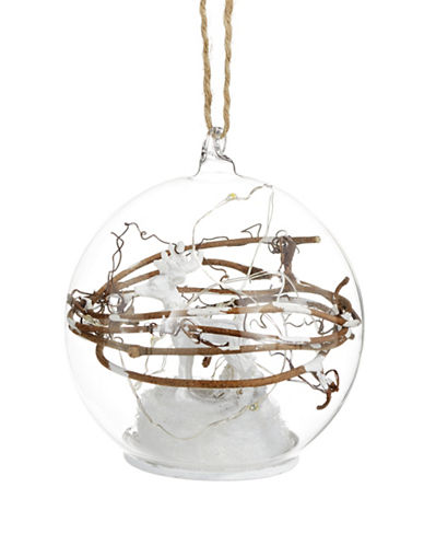 Glucksteinhome Aspen Charm Glass LED Light Ornament with Reindeer-CLEAR-One Size