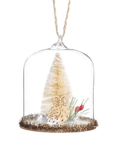 Glucksteinhome Aspen Charm Glass Dome Tree and Owl Ornament-CLEAR-One Size