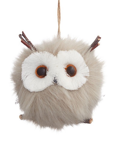 Christmas Street Winter Chalet Furry Owl Ornament-NATURAL-One Size