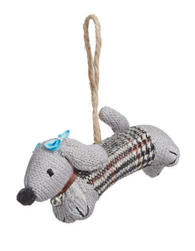 Christmas Street Winter Chalet Knit Dog Ornament-GREY-One Size
