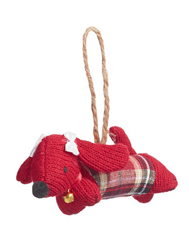 Christmas Street Winter Chalet Knit Dog Ornament-RED-One Size
