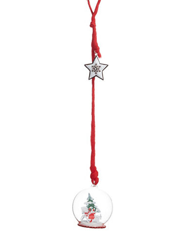Christmas Street Winter Chalet Sled Scene Hanging Ornament-RED-One Size