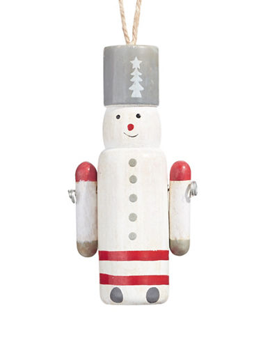 Christmas Street Winter Chalet Wooden Snowman-WHITE-One Size