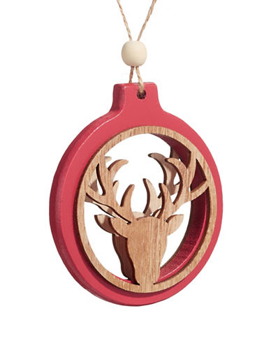 Christmas Street Winter Chalet Wood Reindeer Ornament-NATURAL-One Size