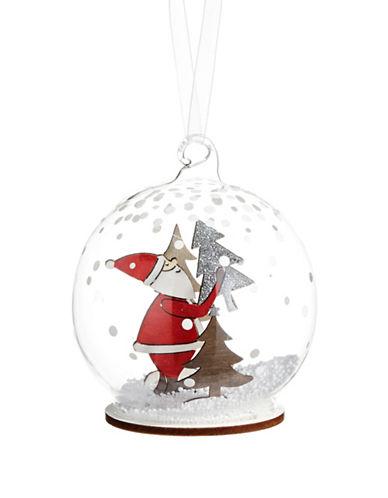 Christmas Street Winter Chalet Santa Snow Globe Ornament-CLEAR-One Size