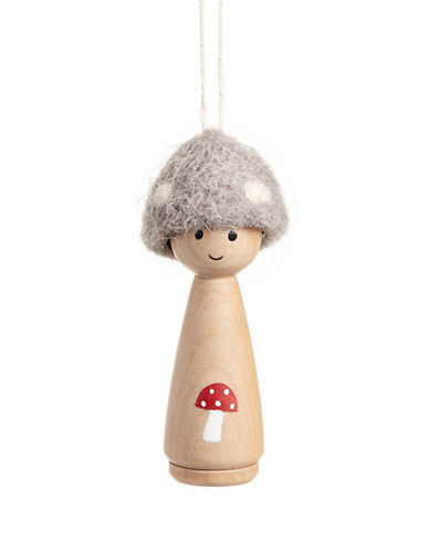 Christmas Street Winter Chalet Wood Mushroom Ornament-NATURAL-One Size