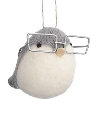 Christmas Street Winter Chalet Felt Bird Ornament-GREY-One Size