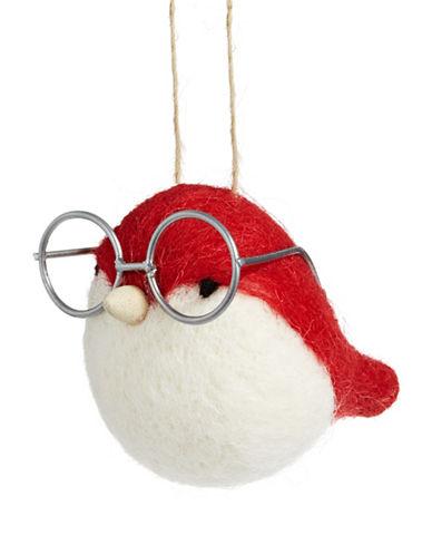 Christmas Street Winter Chalet Felt Bird Ornament-RED-One Size