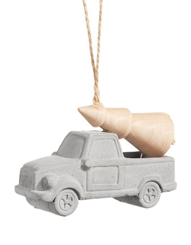 Christmas Street Winter Chalet Cement Truck Ornament-NATURAL-One Size