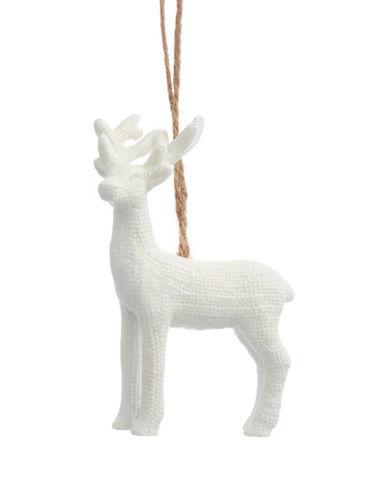 Glucksteinhome Noel Blanc Sparkle Stag Ornament-WHITE-One Size