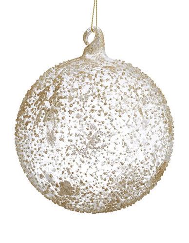 Glucksteinhome Noel Blanc Glitter Speckled Glass Ornament-SILVER-One Size