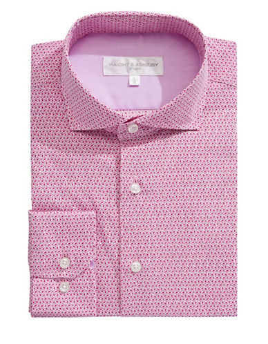 Haight And Ashbury Geo-Patterned Dress Shirt-PINK-17-32/33