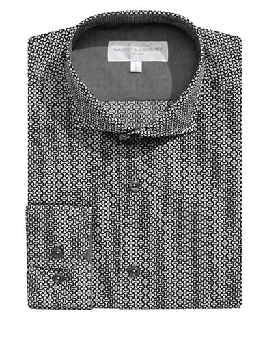 Haight And Ashbury Geo-Patterned Dress Shirt-BLACK-15.5-32/33