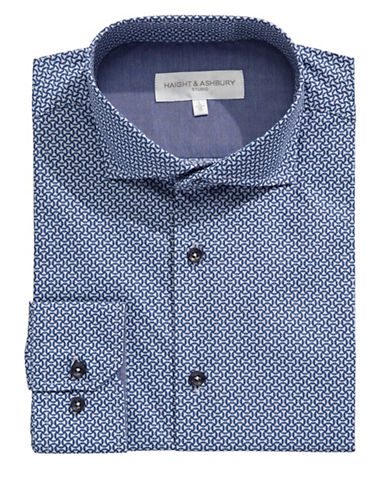Haight And Ashbury Geometric Dress Shirt-NAVY-16-32/33