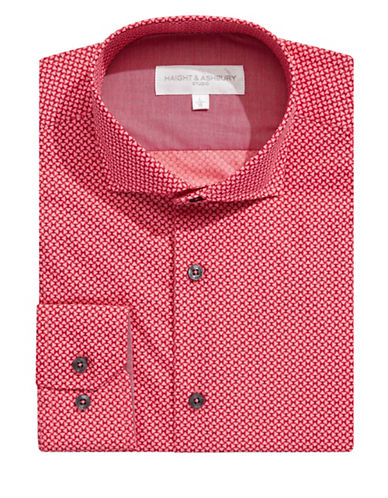 Haight And Ashbury Geo-Patterned Dress Shirt-RED-16-32/33