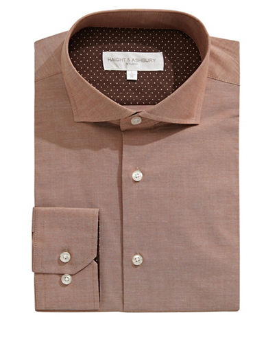 Haight And Ashbury Chelsea Cutaway Collar Dress Shirt-BROWN-17-32/33
