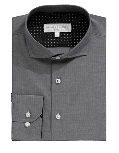 Haight And Ashbury Chelsea Cutaway Collar Dress Shirt-GREY-15.5-32/33