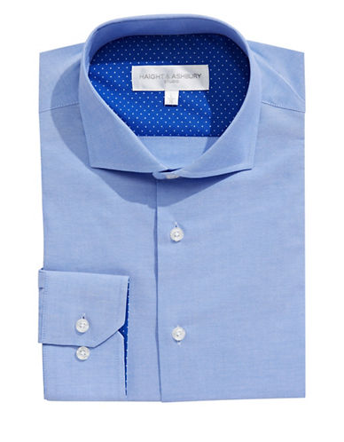 Haight And Ashbury Solid Dress Shirt-BLUE-16.5-32/33