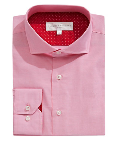 Haight And Ashbury Chelsea Solid Dress Shirt-PINK-16.5-32/33
