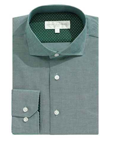 Haight And Ashbury Chelsea Cutaway Collar Dress Shirt-GREEN-15-32/33