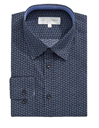 Haight And Ashbury Micro Paisley Print Dress Shirt-NAVY-17-32/33