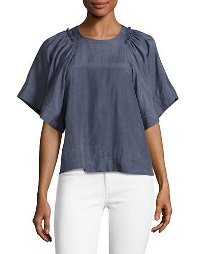 Rachel Comey Silk-Linen Kimono Sleeve Top-BLUE-10