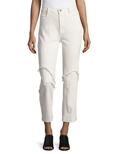 Rachel Comey Fringe Trim Straight Jeans-WHITE-2