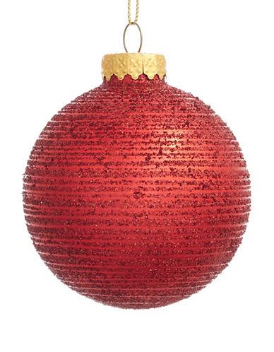 Glucksteinhome Aspen Charm Glitter Glass Ornament-RED-One Size