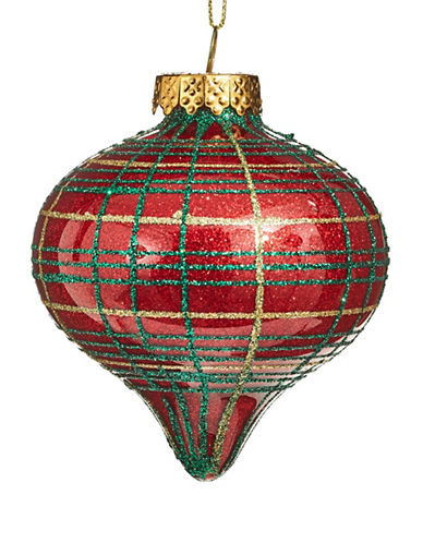 Glucksteinhome Aspen Charm Glitter Glass Ornament-RED-One Size