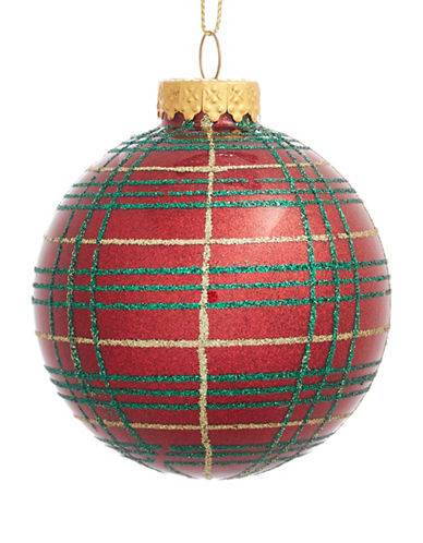 Glucksteinhome Aspen Charm Plaid Glitter Glass Ornament-RED-One Size
