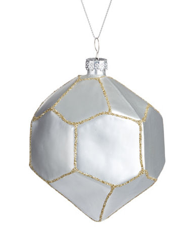 Glucksteinhome Aspen Charm Glitter Glass Ornament-SILVER-One Size