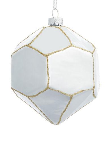 Glucksteinhome Noel Blanc Glitter Glass Ornament-SILVER-One Size