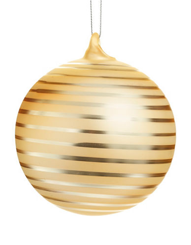 Glucksteinhome Noel Blanc Striped Orb Ornament-GOLD-One Size